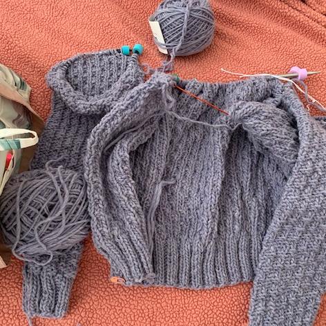 Knitting the Oxbow cardigan sweater
