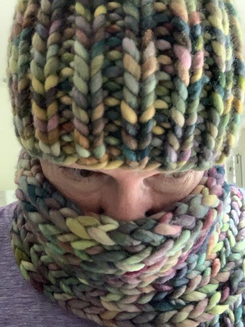 Bulky Rasta yarn hat and scarf