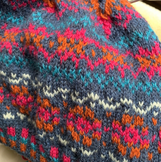 Stranded Fair Isle colorwork hat knit with Rauma Finull wool yarn.