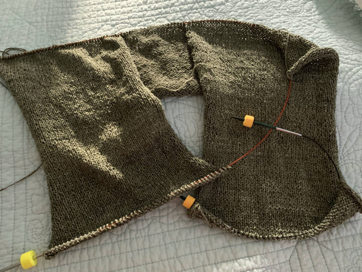 Over the Top Tee knitting