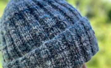 Variegated blue handspun yarn beanie