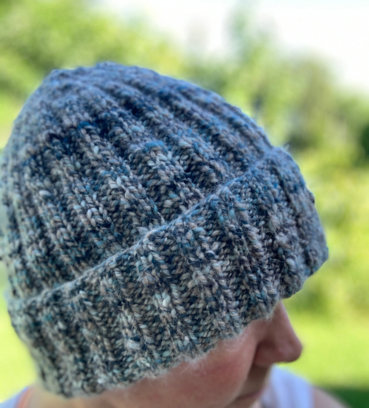 Variegated blue handspun yarn beanie