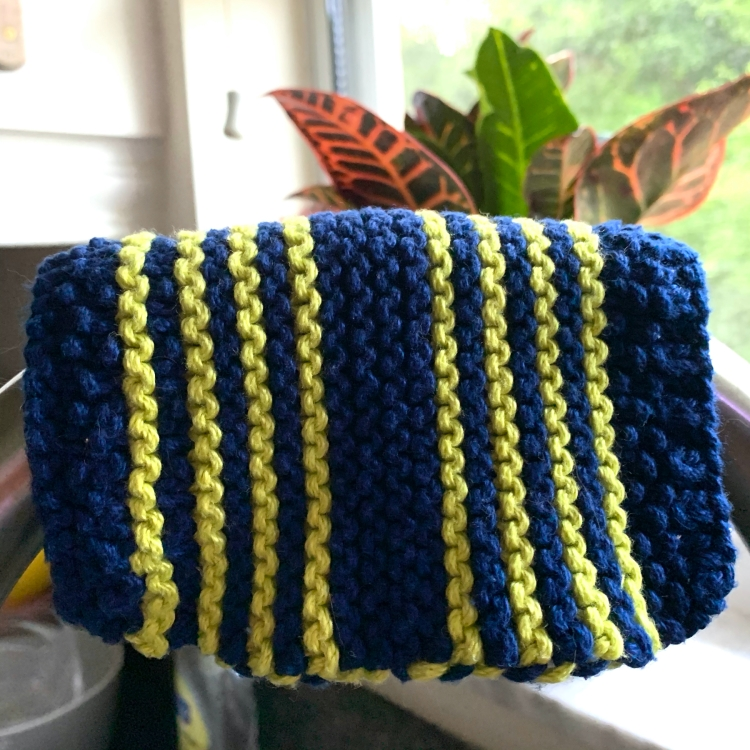 Sassy Skein Key West cotton dishcloth in navy and lime