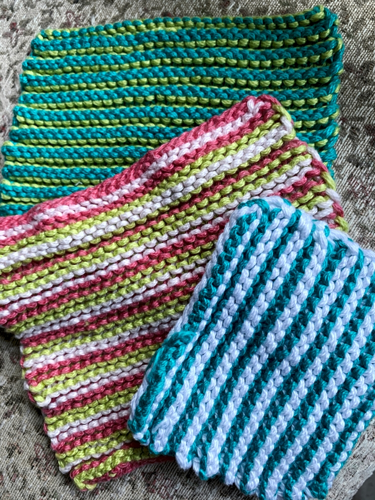 Dishcloths knit with Key West Karibbean Kotton
