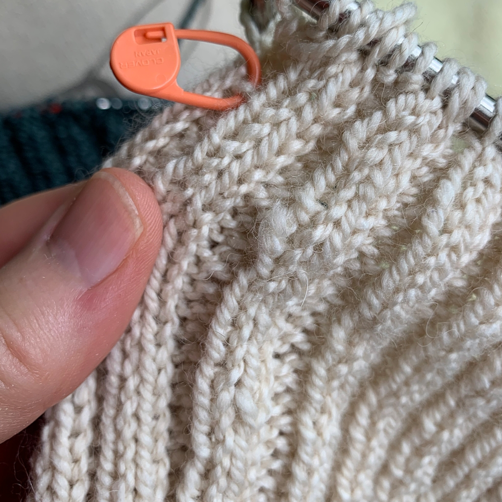Two by two ribbing with Acadia yarn