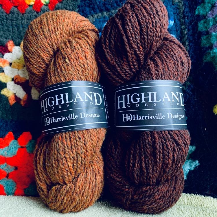 Teak and Foliage Harrisville Highland yarn