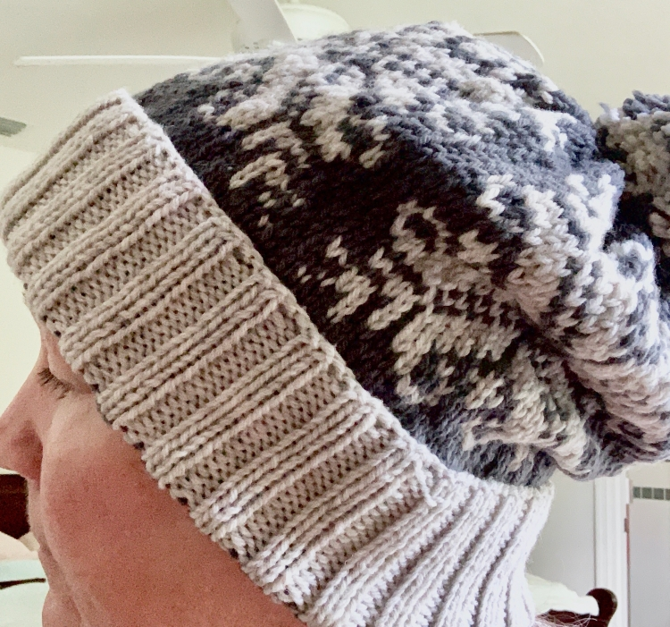 Snowflake hat slouch pompom