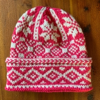 Pink and White Triple-Patterned Watchcap