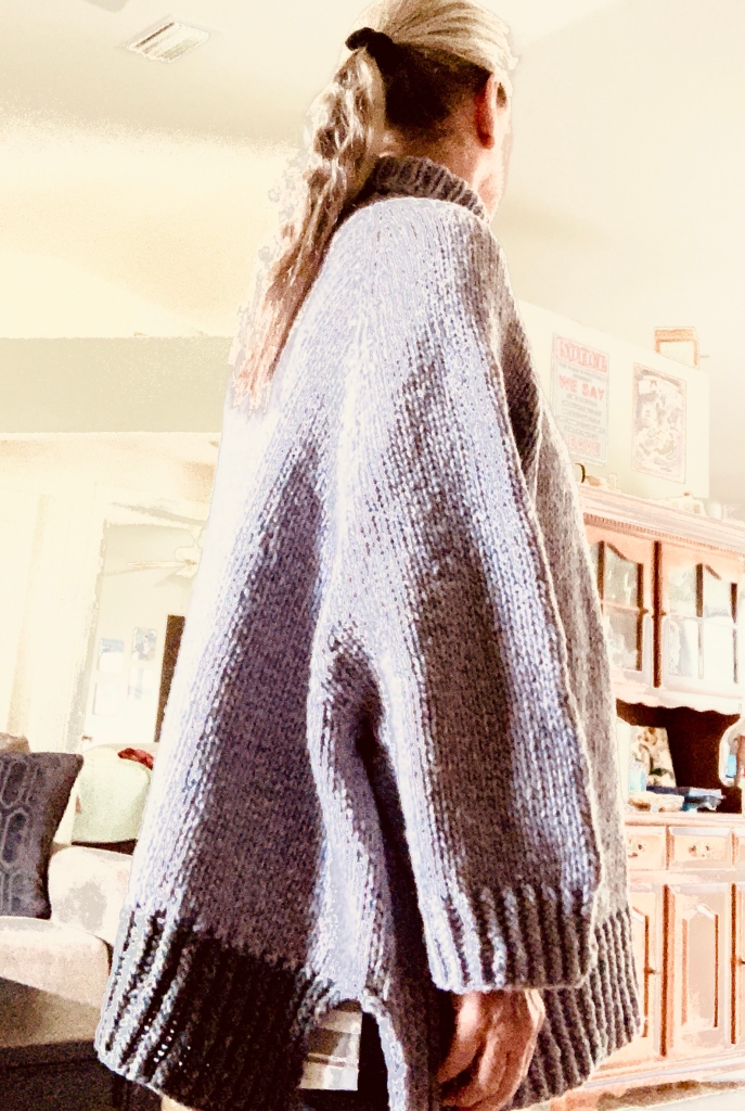 Turtle Dove hand-knit sweater in Quarry yarn, color Geode