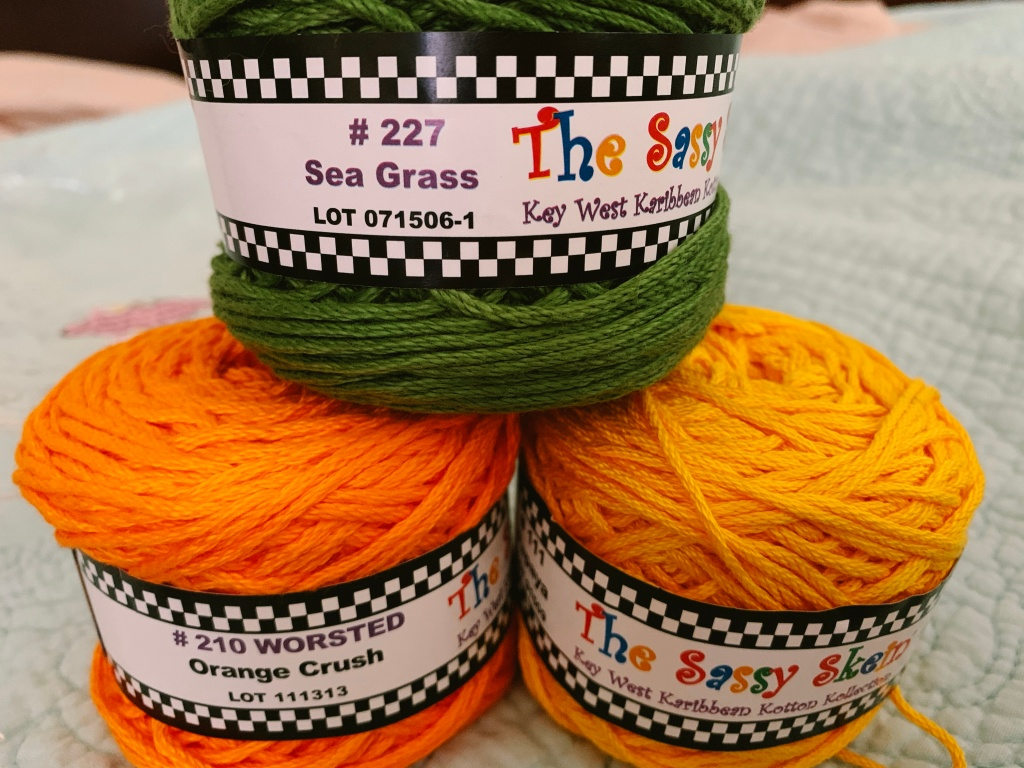Worsted cotton yarn by The Sassy Skein in tropical colors
