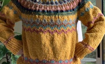 Colorwork pullover sweater Marshland pattern
