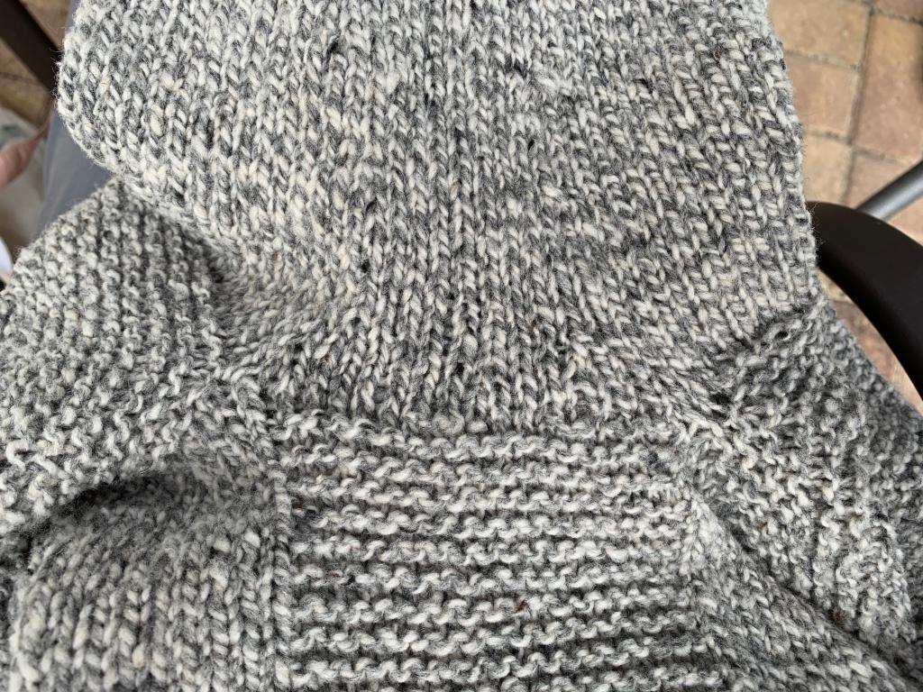 Underarm sweater seam looking good