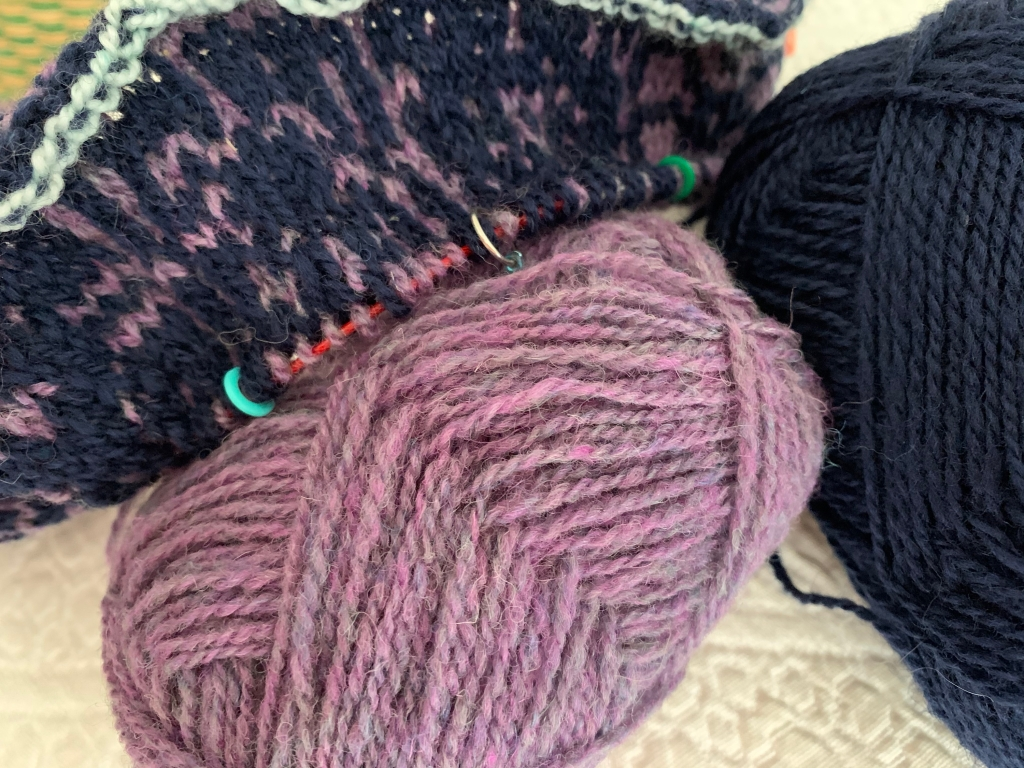Jamieson & Smith purple yarn and Rauma navy blue