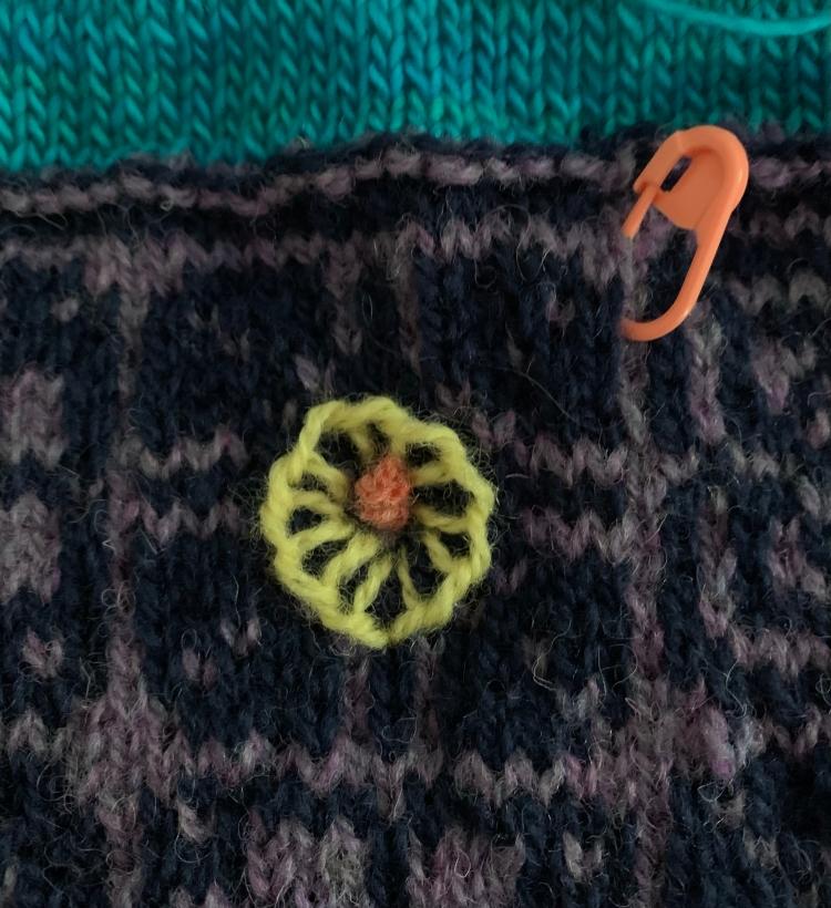 Blanket stitch yellow flower
