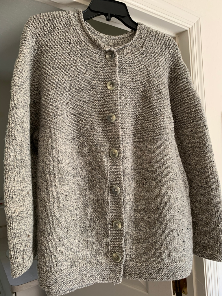 My Cobblestone Cardigan hand knit sweater is done with buttons added.