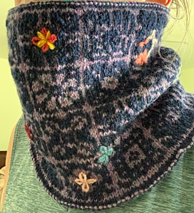 Keramos cowl colorwork pattern lined embroidery