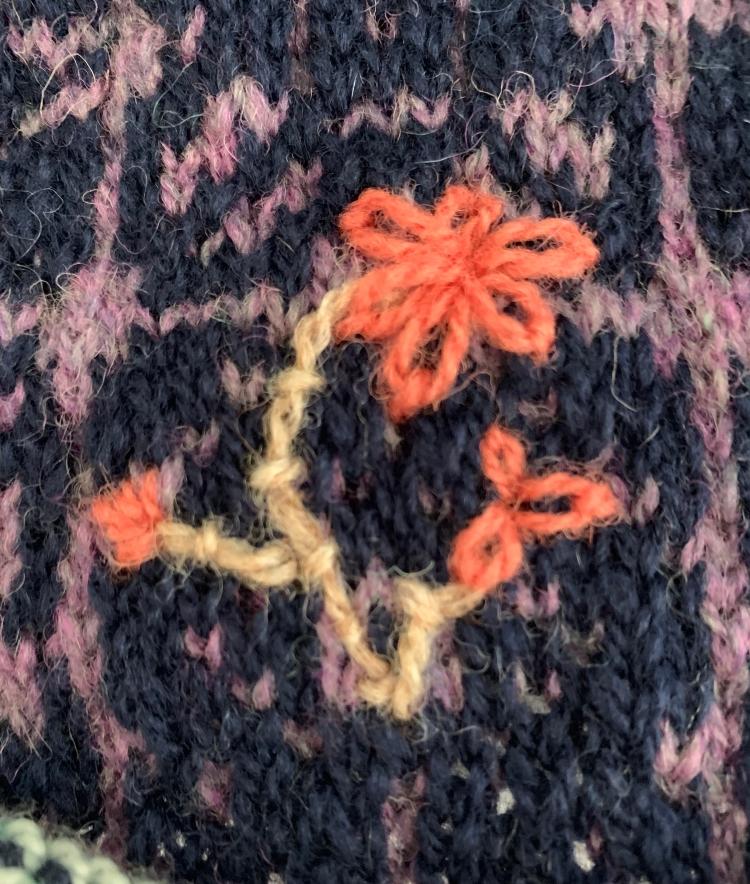 Wool yarn embroidery flower