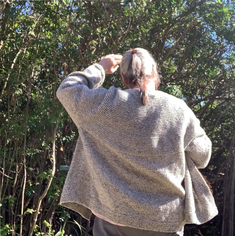 Wearing my Cobblestone Cardigan hand knit in gray wool
