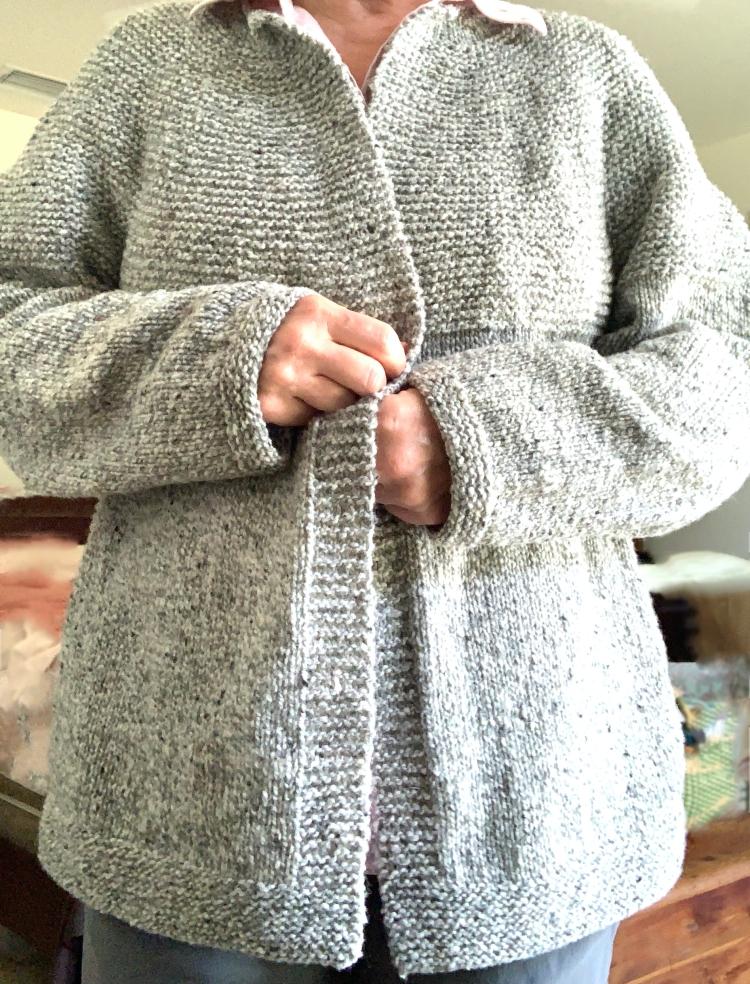 Cobblestone Cardigan knit in Brooklyn Tweed yarn