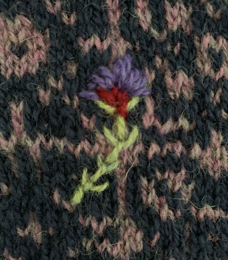 Thistle embroidery on Keramos Cowl