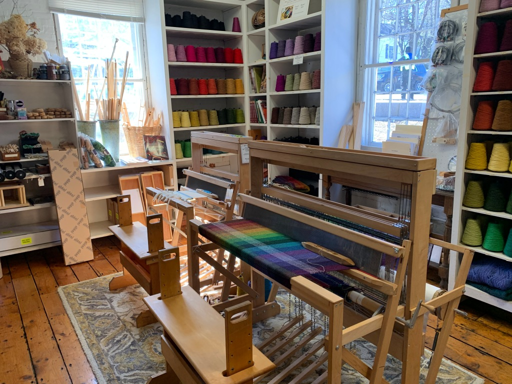 Inside Harrisville Designs where a weaving loom is for sale