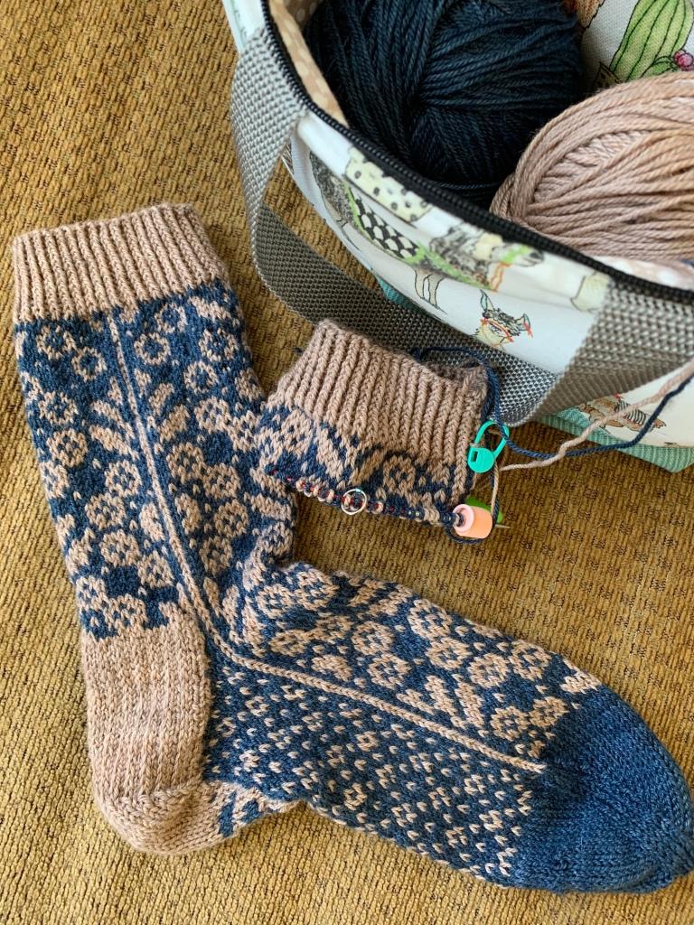 Hand knit colorwork sock Wild Angelica
