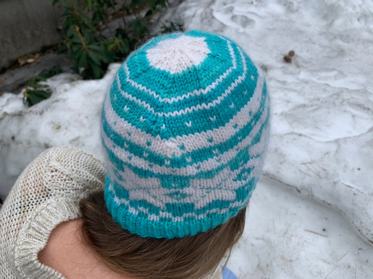 Blue and white colorwork hat handknit