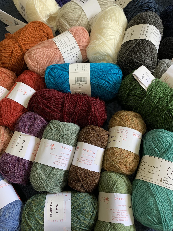 Wool yarn skeins, Jamieson & Smith and Rauma