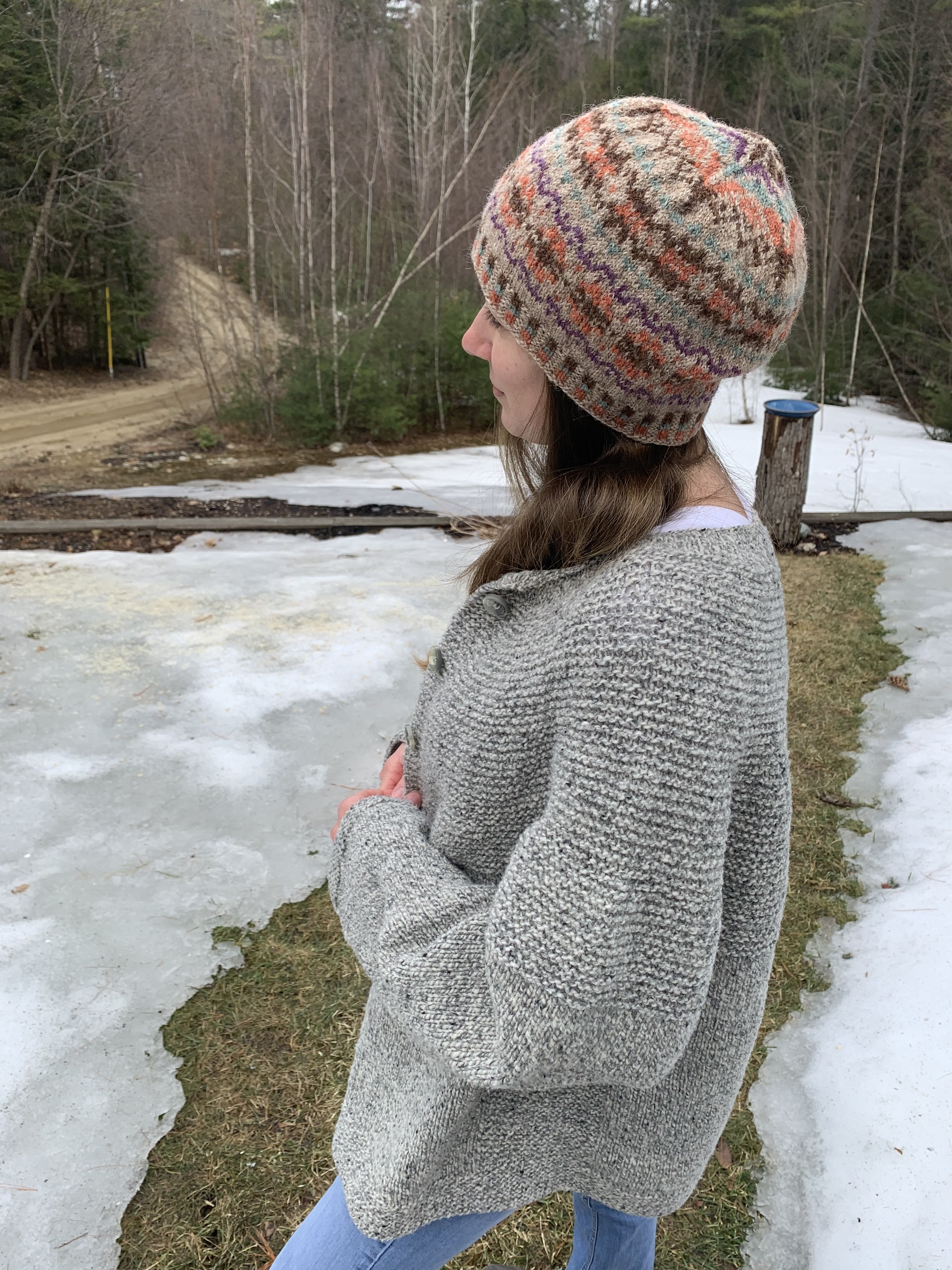 Modeling the Cobblestone cardigan and Katie's Kep