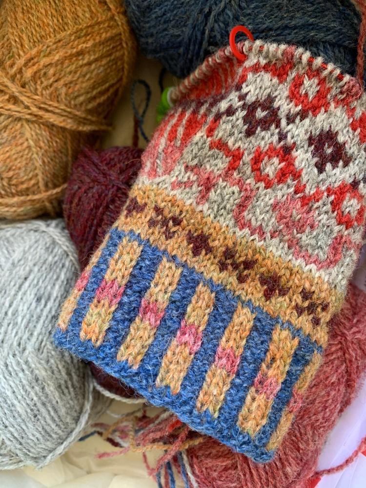 Tejido de manopla Fair Isle trenzado de lana
