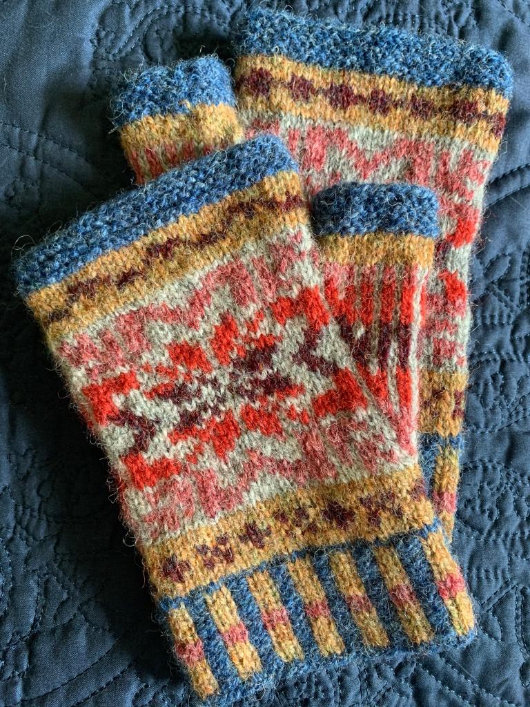 Fair Isle Mitts patrón de colores de lana Jamieson y Smith