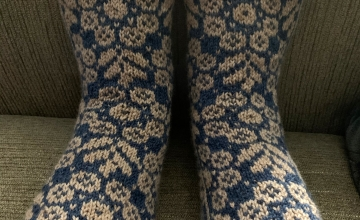 Colorwork socks hand-knit wild angelica pattern