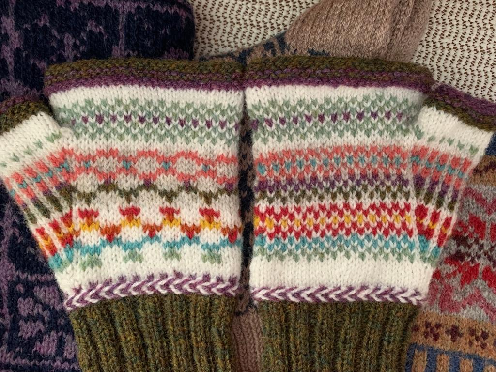 fingerless mitts palm knitting patterns