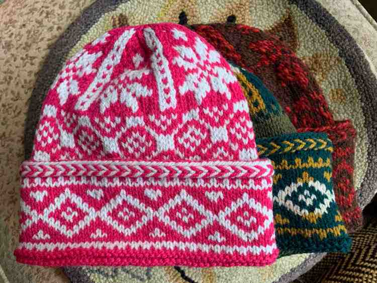 Triple Patterned Watchcap three hats same pattern