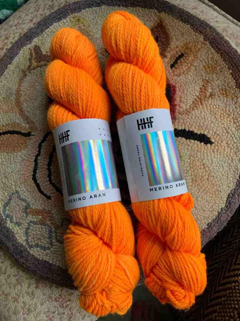"Hedgehog Fibres yarn ""kid you not"" orange"