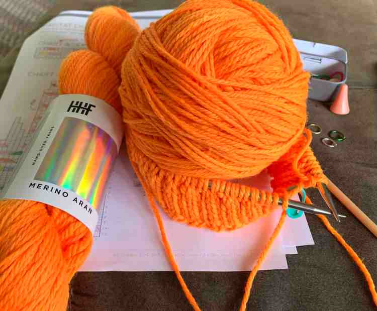 "hunter orange cables hat ""Habitat"" pattern"