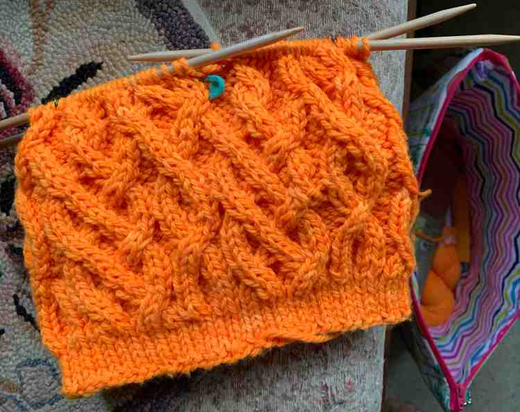 Double pointed needles cable hat knitting