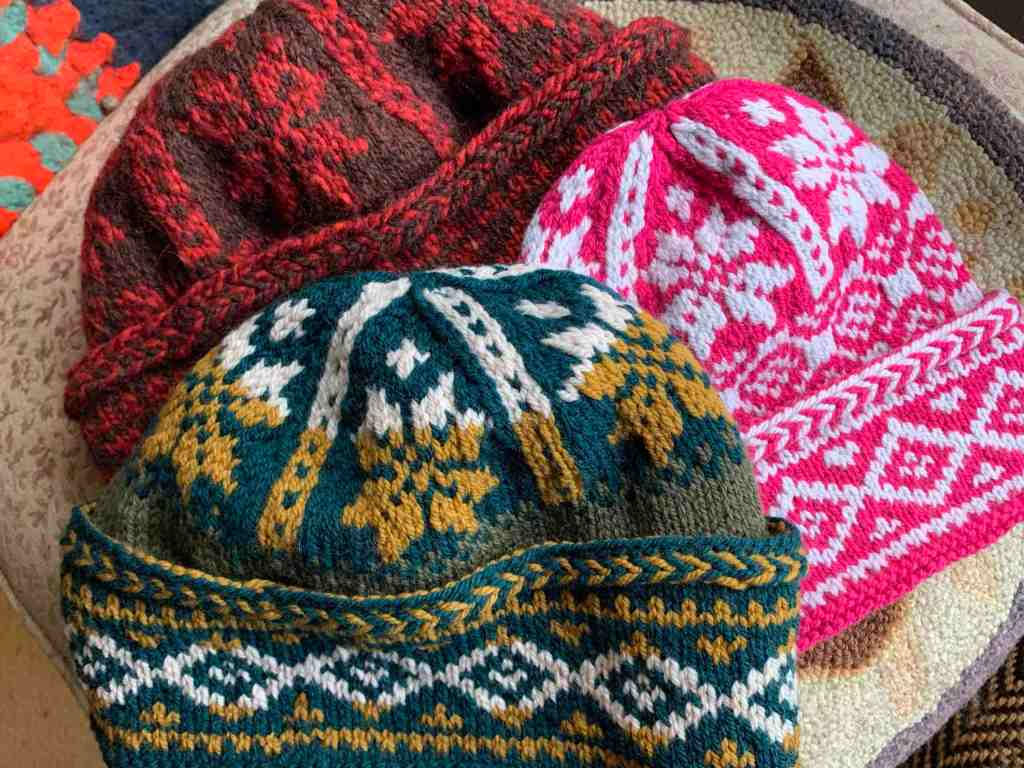 Triple Patterned Watchcap hats in three colors