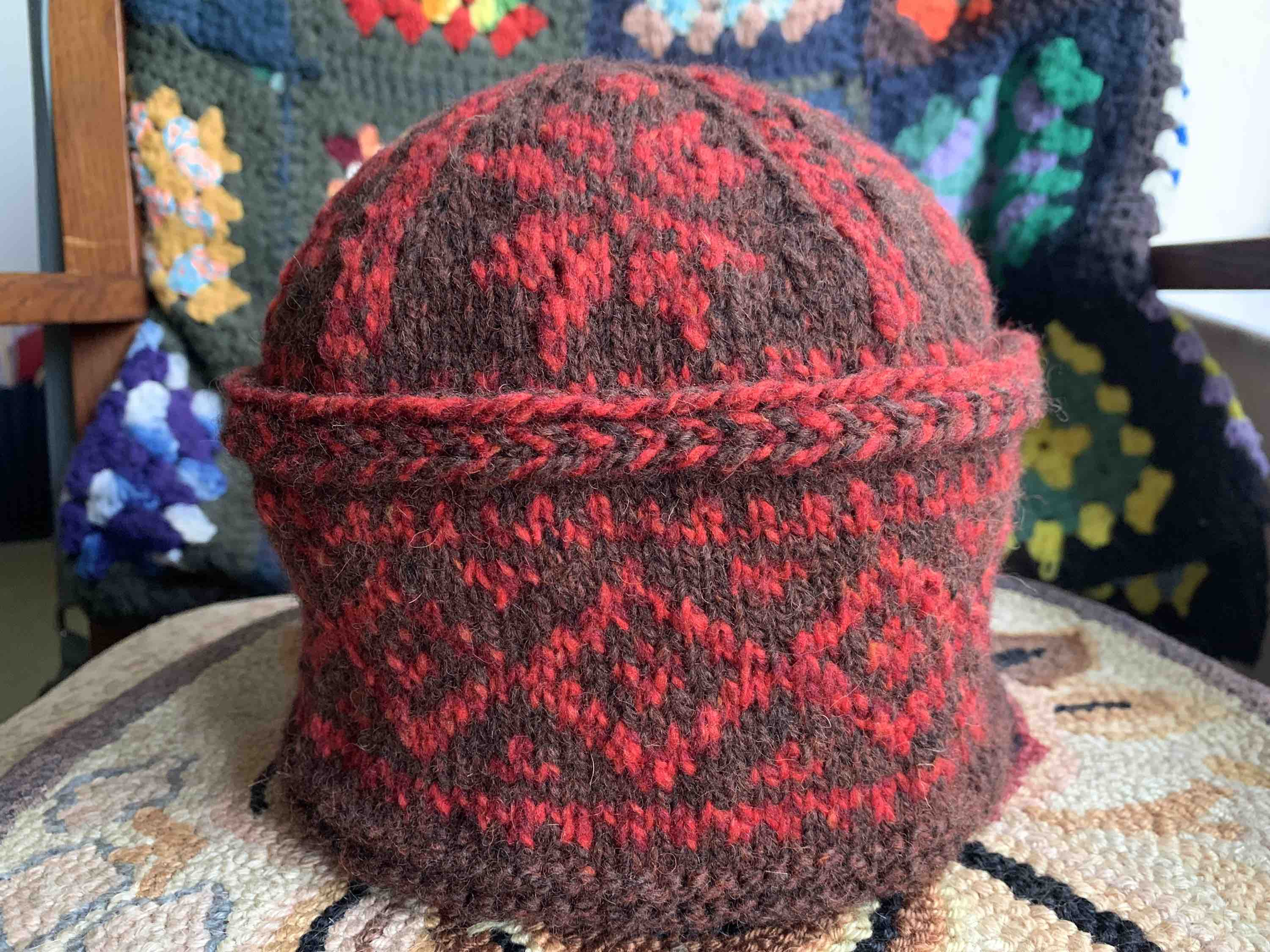 Triple Patterned Watchcap knit in brown and red wool