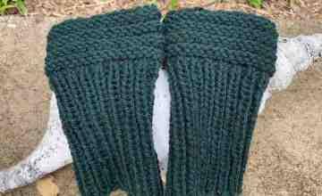 boot cuffs knit in Myak yarn color Moss