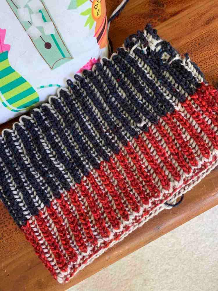 brioche hat knitting other side