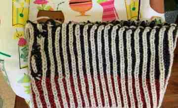 brioche knitting attempt hat in the round