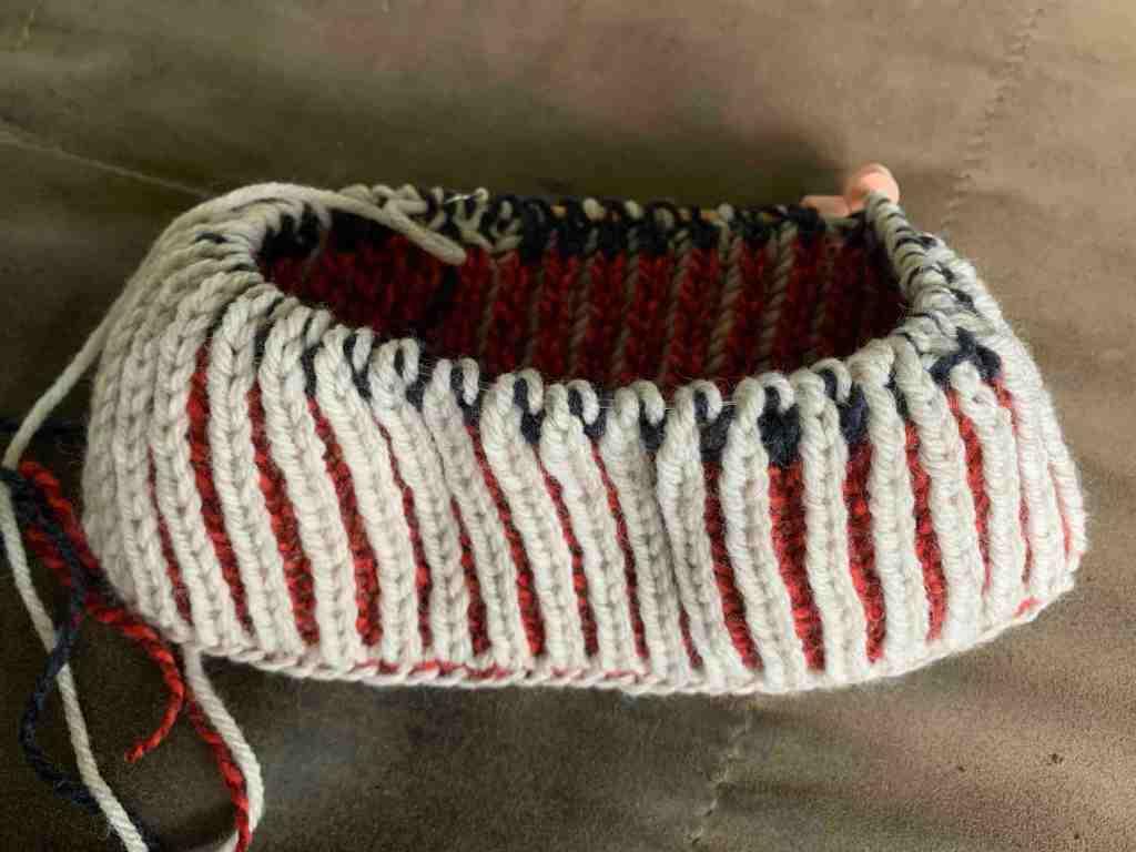 Brioche in the round, hat knitting practice