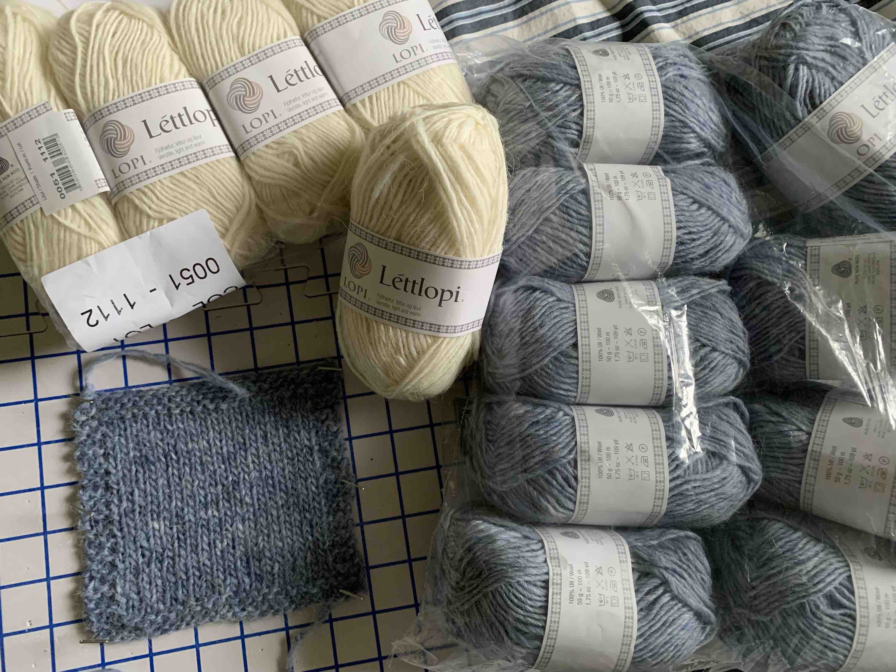 Lettlopi wool skeins in white and blue