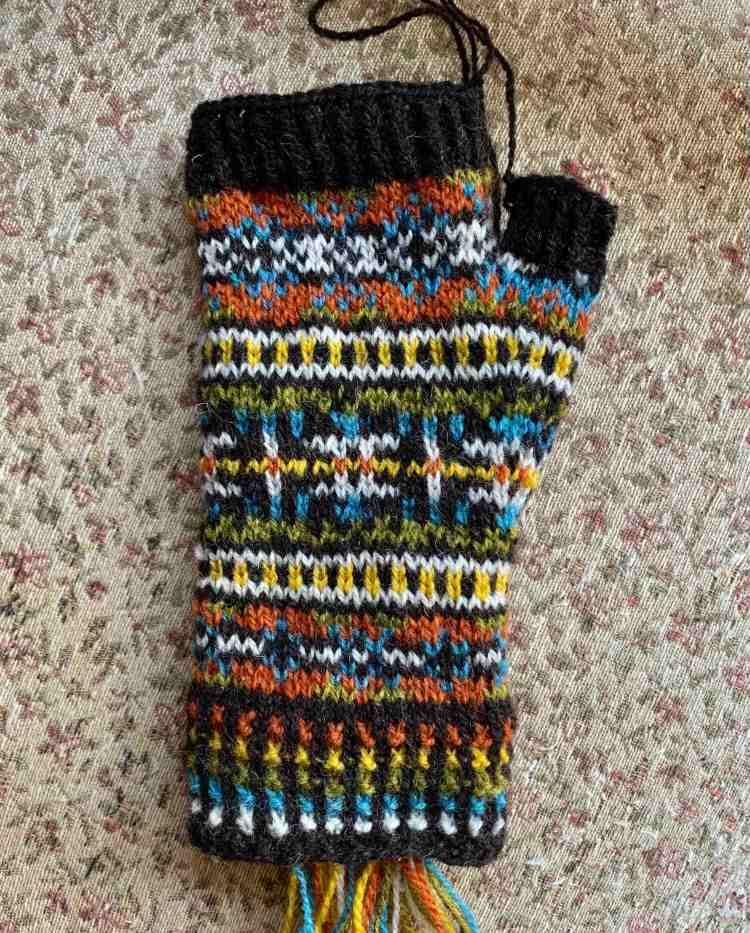 Fair Isle mitt knitting done