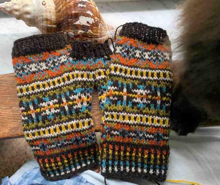 pair of colorwork Fair Isle fingerless mitts
