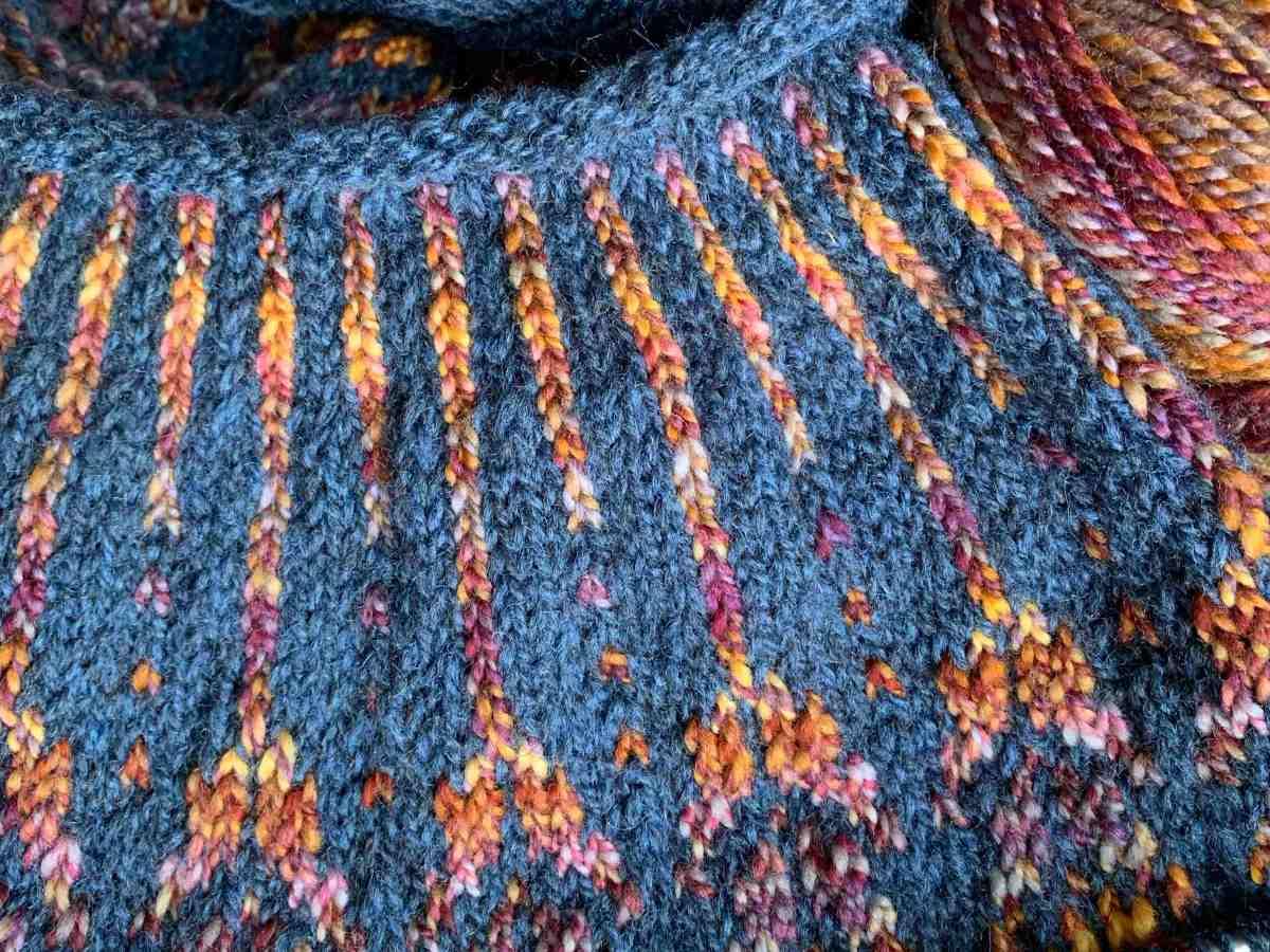 knitting colorwork yoke of Meadow Moon pullover
