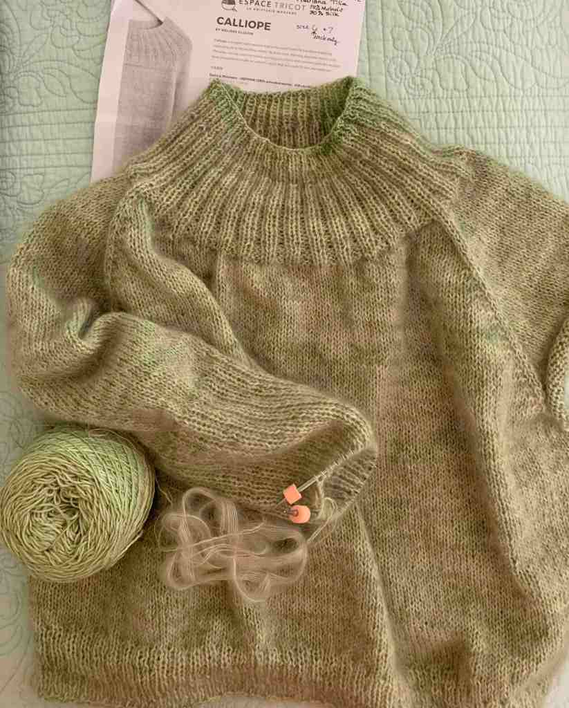 knitting the Calliope pullover sweater in green